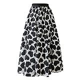 Dawwoti Falda con Estampado Floral para Mujer Falda De Tul De Malla Oscilante Midi Faldas Plisadas