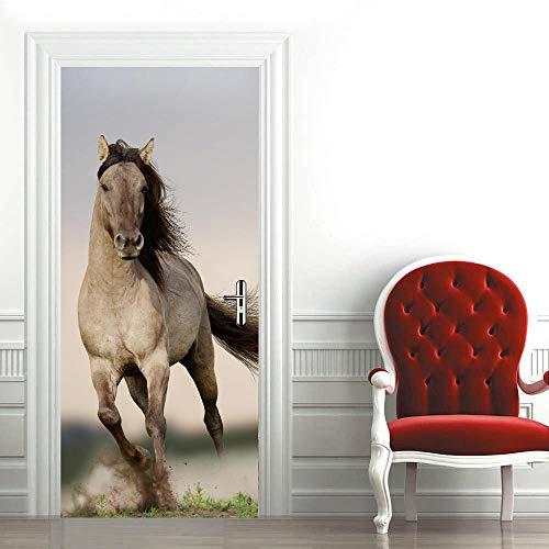 3D Mural para Puerta 95X215Cm Autoadhesivo Impermeable Papel Pintado Puerta para Sala de Estar Baño Extraíble Vinilo Adhesivo de Pared,DIY Decoración del Hogar - Caballo Blanco Animal