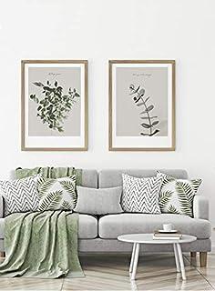MILUKA Pack de 2 Láminas Decorativas para enmarcar colección FEUILLES (Láminas Hojas Verdes - Naturaleza)   Tamaño 50x70cm
