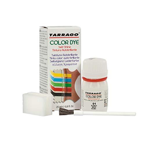 Tarrago | Self Shine Color Dye 25 ml | Tinte Para Cuero y Lona de Acabado Brillante Para Teñir Zapatos y Accesorios | Tintura de Secado Rápido Para Reparar el Calzado | Anti Rozaduras (Blanco 01) ⭐
