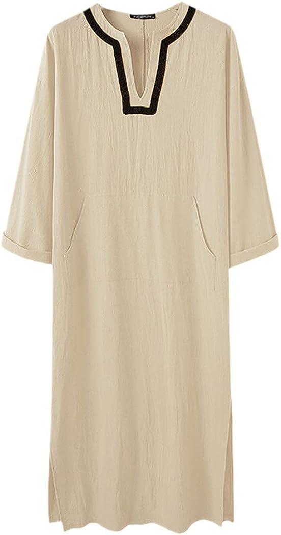 Mens Long Sleeve V Neck Jubba Thobe Solid Color Abaya Saudi Muslim Robes Vintage Patchwork Robes