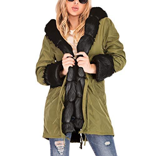 Azastar Damesmantel herfst winter cardigan lang katoen winterjas met imitatiebont kraag pluche jas warm outdoorwear