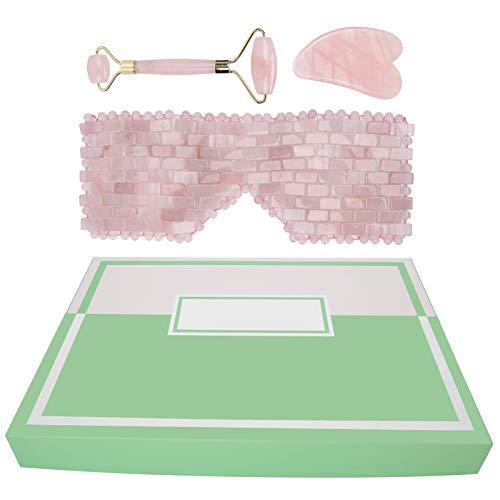 Almohadilla para ojos de cuarzo rosa + rodillo de masaje facial + juego de tablero raspador, suministros hechos a mano de jade natural, herramientas de masaje facial
