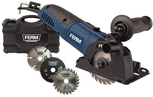 FERM CSM1043 Precisie Cirkelzaag/Mini Cirkelzaag - 500W - Variabele snelheid - inclusief 3 Zaagbladen en Opbergkoffer