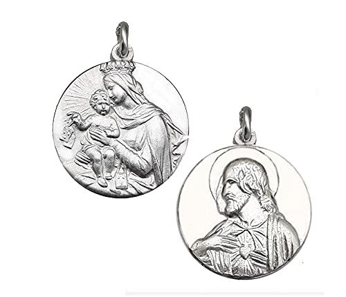Escapulario virgen del Carmen - Medalla del Carmen- medalla de plata religiosa- Comunión-Sagrado Corazón
