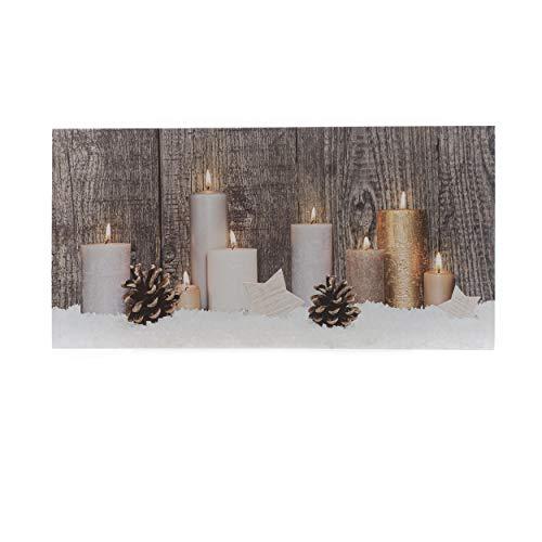 Knüllermarkt 31608 I Bedruckte LED I Leinwand I 60x30 I Home I Kerzen Bild I Wanddeko I Weihnachten I Kunst I Deko