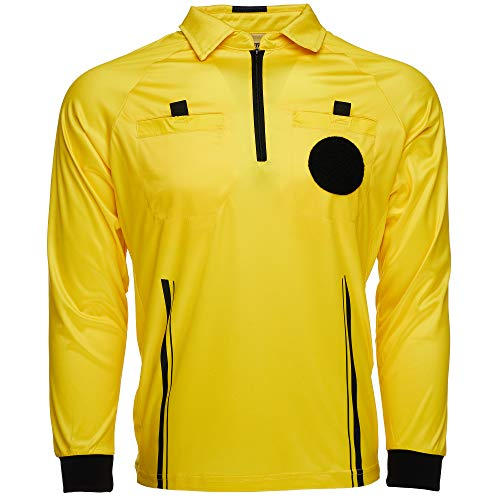 Murray Sporting Goods USSF Pro-Style Soccer Referee Jersey - Long Sleeve | Officials Yellow Long Sleeve Soccer Referee Shirt (Small)