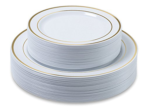 Disposable Plastic Plates - 120 Pack - 60 x 10.25 Dinner and 60 x 7.5 Salad Combo - Gold Trim Real China Design - Premium Heavy Duty - By Ayas Cutlery Kingdom