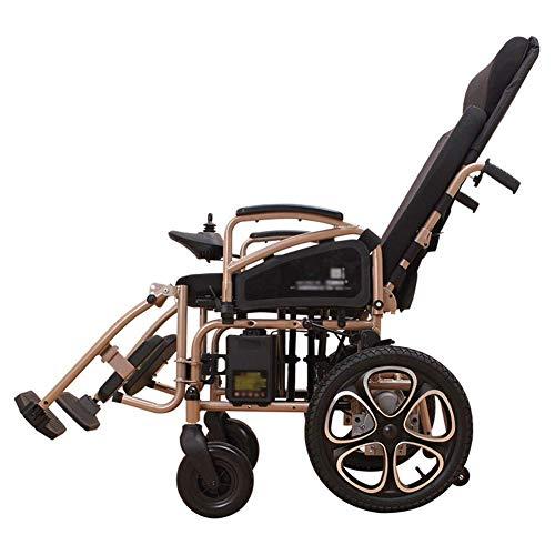 ZHANGYY Älterer Elektrorollstuhl - Faltbarer Luftreifen mit hoher Rückenlehne und hoher Rückenlehne Elektromagnetischer Bremsenroller -8484Räder schwer/braun