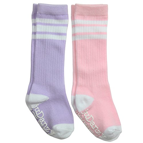 juDanzy knee high tube socks for boys, girls, baby, toddler & child (12-24 Months, Pink & Lavender)