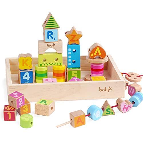 STKASE 35 Bloques de construcción de Espuma para niños Juguete Ladrillos Coloridos con diversas Formas Efecto Madera