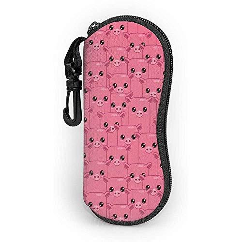 WCHAO Sonnenbrillen Smily Square Faced Little Pigs Augen Nasen Crowd Herd Soft Case Ultraleichtes Neopren-Reißverschluss-Brillenetui