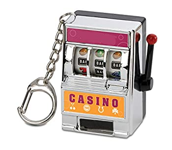 Funny Keychain Mini Slot Machine Works Great as Stress Reliever - Randomly Assorted Colors Silver or Gold