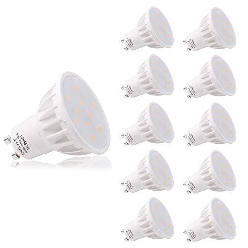 (10er Pack Tageslicht weiß) LOHAS 6Watt GU10 LED Lampen, Ersatz für 50Watt Halogenlampen, 500LM, 5000K, 120 Grad Abstrahlwinkel, LED Birnen, LED Leuchtmittel