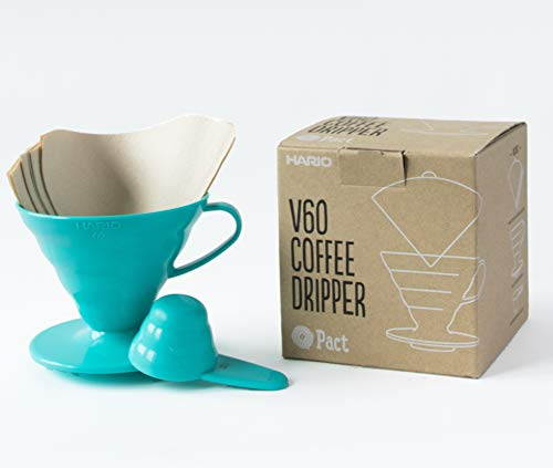 Hario V60 Teal Coffee Dripper Kit - Plastic V60 Size 02, 40 Unbleached Filter Papers & Measuring Scoop