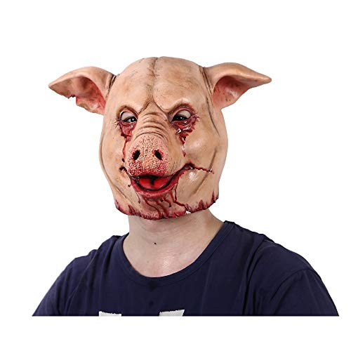 GGOII Weihnachtsmaske Horror Schwein Overhead Tier Maske Latex Schwein Maske Halloween Kostüm   Scary Saw Schwein Maske Full Head Horror Evil Animal Prop   1St