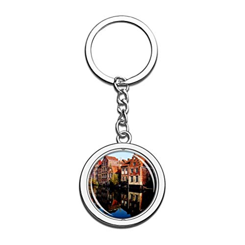 Schlüsselanhänger, Belgien, historisches Zentrum von Brugge Bruges Schlüsselanhänger, Souvenir, Drehkristall, Metall, Edelstahl, Kette, Stadtreise, Geschenk
