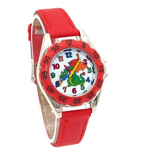 SFBBBO Reloj niño Lindo Reloj para niños niñas Reloj de Pulsera de Cuero Reloj Casual Moda niños aprenden Tiempo Reloj Rojo