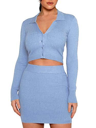 Vestido de 2 Piezas para Mujer Sexy Traje Ajustado Top Corto Cárdigan de Punto con Manga Larga Falda de Cintura Alta (Azul, M)