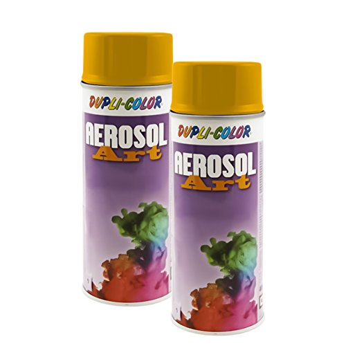 2X DUPLI Color AEROSOL RAL Lack SPRÜHDOSE 1023 VERKEHRSGELB GLÄNZEND