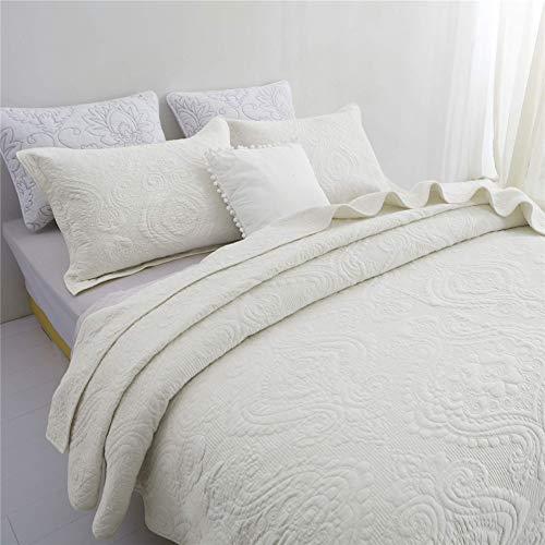 TEXTILE-S Conjuntos de Acolchado edredón del consolador de la Reina Set Tamaño del Damasco de algodón Bordado Colcha Colcha de Lujo,Blanco,245x265cm