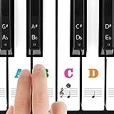 Pegatinas de Colores Transparentes para Teclado de Piano Etiquetas Para 37/49/54/61/88 Teclas, Legible Siempre Favorable, Perfectas Para Niños y Principiantes Para Aprender a Tocar Rápido, Color