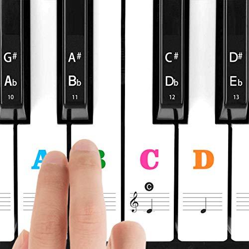 Klavier Aufkleber für 37/49/54/61/88 Weiße und Schwarze Tasten, Transparentes Dünneres Noten-Aufkleber mit größere Buchstaben, Einfache Anleitung für Kinder, Klavier Anfänger und Veteranen, Bunt