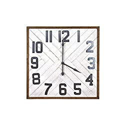 Creative Co-op Square Herringbone Inlay Stained Wood Wall Clock, 36, White
