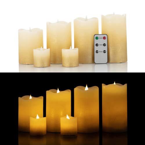 6 LED Echtwachskerzen mit täuschend echter Flamme & Docht, Fernbedienung und Timer (Gold Farbverlauf)