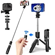 SYOSIN Selfie Stick mit Handy und Kamera Stativ (100cm) - 4 in 1 Selfiestick mit Bluetooth-Fernauslöse, 360°Rotation Selfie-Stange für GoPro Action-Kamera und iPhone Android Smartphones