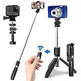SYOSIN Palo Selfie Trípode con Control Remoto Bluetooth, 4 en 1 Monópode Extensible Selfie Stick Bolsillo Inalámbrico 360° Rotación para GoPro/Mini Cámara, iPhone Android Samsung Huawei y etc.