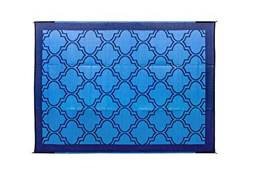 Camco Large Reversible Outdoor Patio Mat - Easy to Clean, Perfect for Picnics, Cookouts, Camping, and The Beach (9' x 12', Lattice Blue Design) (42856)