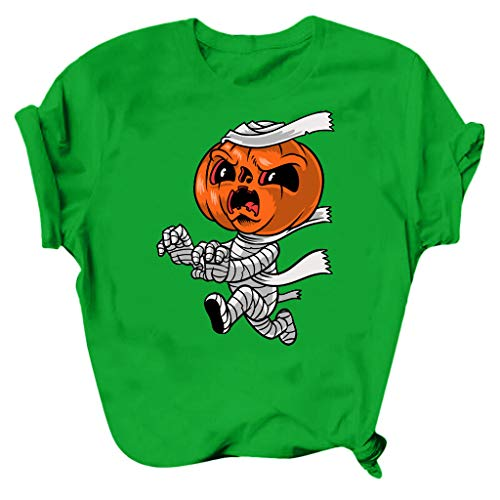 Fasclot Women's Halloween Round Neck Short Sleeve Pumpkin Print Top Blouse T-Shirt Green 3XL