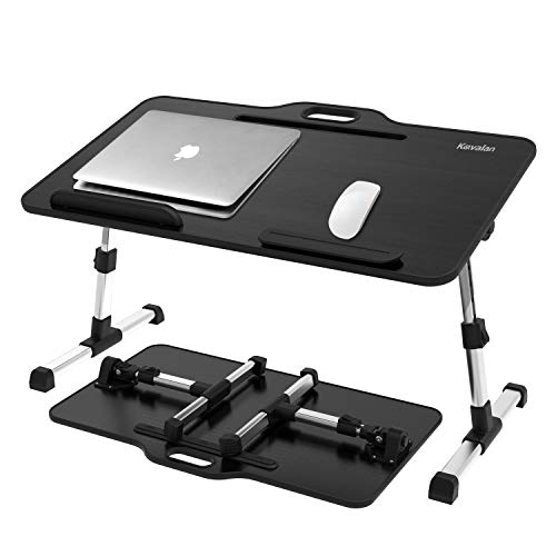Laptop Desk Bed Tray Table, Height & Angle Adjustable Sit and Stand Desk, Right & Left Handed Design Portable Laptop Table with Handle,Foldable Bed Desk for Laptop and Writing in Sofa Couch (Large)