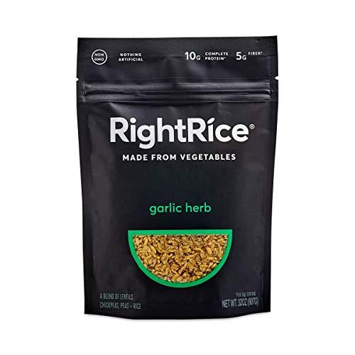 RightRice - Garlic Herb (32 oz) - Made from Vegetables - High Protein, Vegan, non GMO, Gluten Free