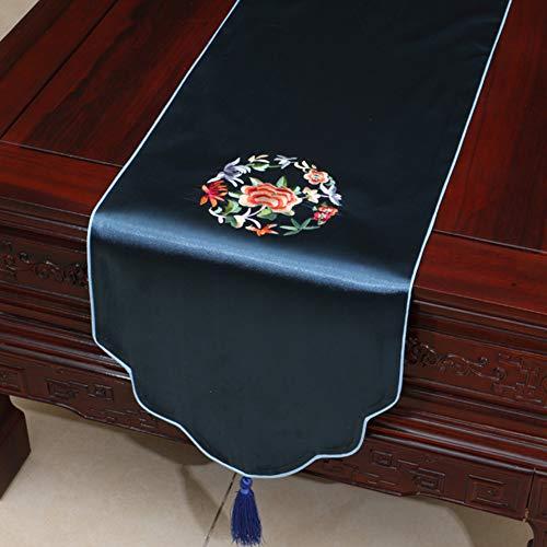 HJCC Einfache Brokat Stoff Pastoral Tischläufer Tischdecke Stickerei Teetisch Tischdecke Bett Schrank Tischläufer Tischdecke Dekorieren Esstisch Und Hochzeitsfeier,Blau,33 * 200cm