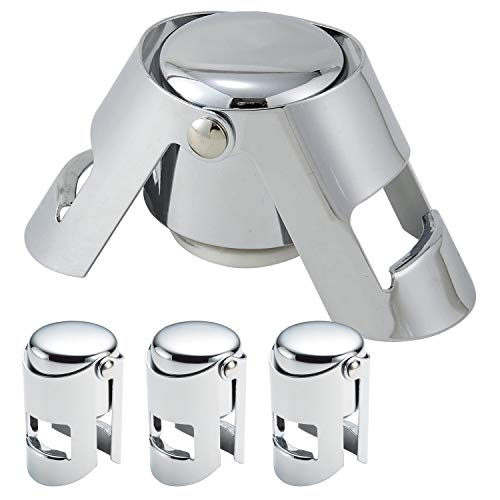 Aksesroyal 4 pieces Champagne Sealer Stopper, Reusable Sparkling Wine Bottle Saver, Stainless Steel Plug for Cava, Prosecco with locking clips, Silver