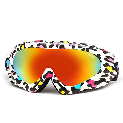 Skibrille - Schneebrille, über welches die Gläser Snowboardbrillen Anti-Fog Shatterproof Staubdichtes 100% UV-Schutz for Kinder Ski (6-13 Jahre) (Color : C)