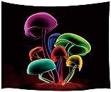 Yhjdcc Tapiz psicodélico, diseño de setas, diseño de plantas de hongos mágicos, para colgar en la pared, 150 cm x 200 cm