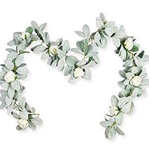 Miracliy 5FT Artificial Lambs Ear Eucalyptus Garland with Flowers, Fake White Rose Hanging Flower Vines for Wedding Home Party Decor