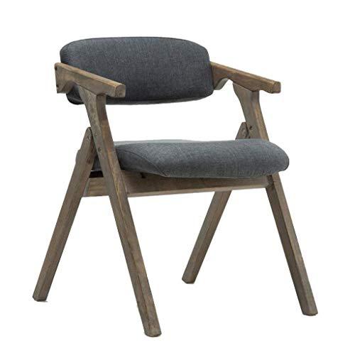 KAISIMYS Nordic - Silla de comedor de madera maciza, moderna, tejido minimalista, plegable, reposabrazos, silla de café (57 x 54 x 74 cm), color azul
