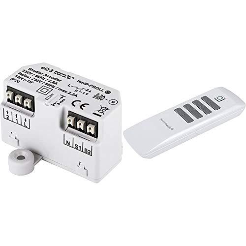 Homematic IP Smart Home Rollladenaktor - Unterputz, intelligente Steuerung von Rollläden und Markisen, auch per kostenloser App, 151347A0 & Fernbedienung – 8 Tasten, 142307A0