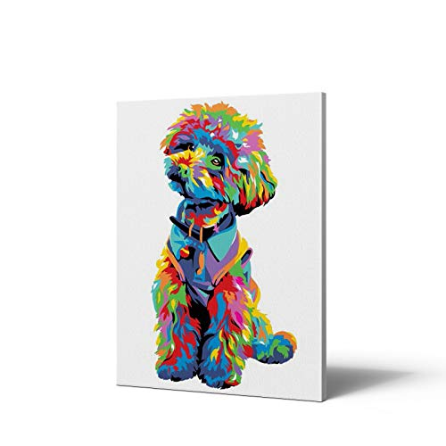 """Paint by Numbers with Framed Canvas for Kids and Adults Beginner ,DIY Painting Paint by Number Kits,Cute Teddy Dog 16""""x12""""inch Wooden Frame"""