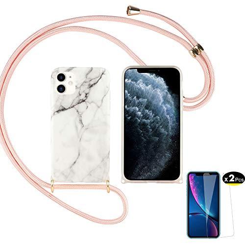 Hülle Kompatibel mit iPhone 12 Handyhülle Transparent & iPhone 12 Panzerglas Silikon Necklace Schutzhülle Tasche Weich Band Halsband Lanyard Marmor Design Muster Handy Case Für iPhone 12 (d)