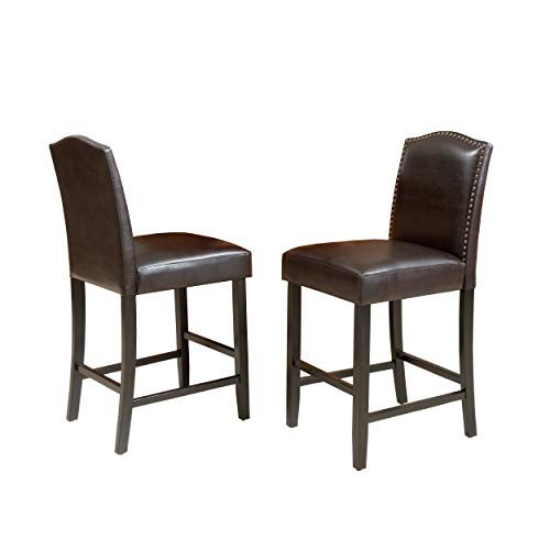 Christopher Knight Home Darren Leather Counter Stools, 2-Pcs Set, Brown / Walnut