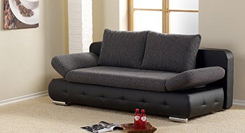 lifestyle4living Schlafsofa in Grau/Schwarz, Bettkasten, 2-Sitzer Sofa mit Schlaffunktion, Stoff/Kunstleder, Federkern-Polsterung | Gemütliche Couch in modernem Design