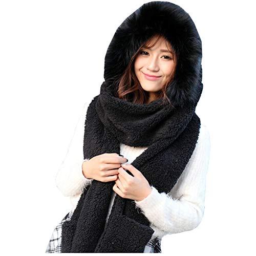 Lucky Beth Winter Warm Women Hoodie Hat/Scarf/Gloves Set Soft Plush Thick Warm Hat