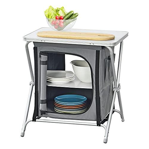 [en.casa] Campingschrank 60x45x64 cm Campingküche mit Arbeitsplatte Reiseschrank Faltschrank Outdoorschrank Dunkelgrau