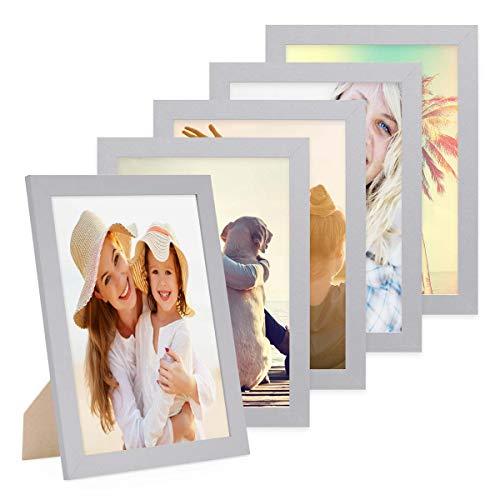 Photolini Juego de 5 Marcos 21x30 cm/DIN A4 Basic Collection Modernos, Plateados de MDF, Incluyendo Accesorios/Collage de Fotos/galería de imágenes
