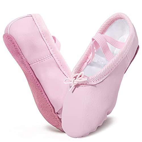 Scarpe Danza Classica in PU Pelle Cotone Scarpe da Ballerina Scarpette Ballo Bambina con Suola Intera in Cuoio per Bambina Ragazze Donna
